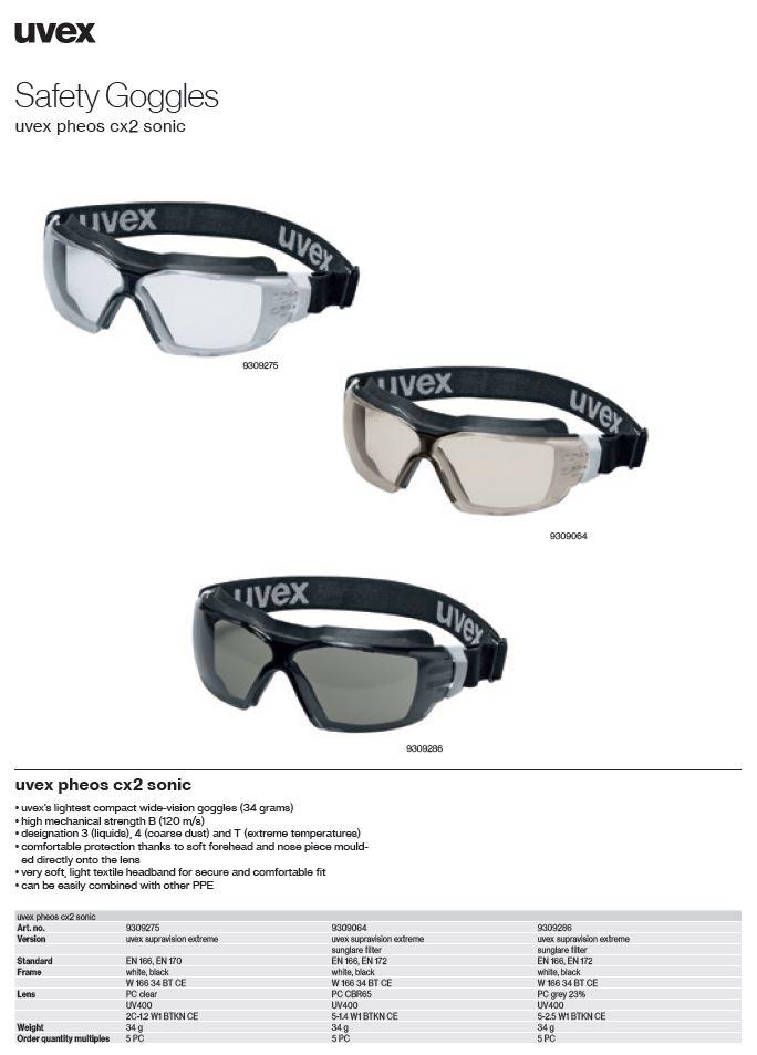 عینک گاگل ایمنی یووکسpheos cx2 sonic goggles محصول شرکت یووکس uvex آلمان می باشد .