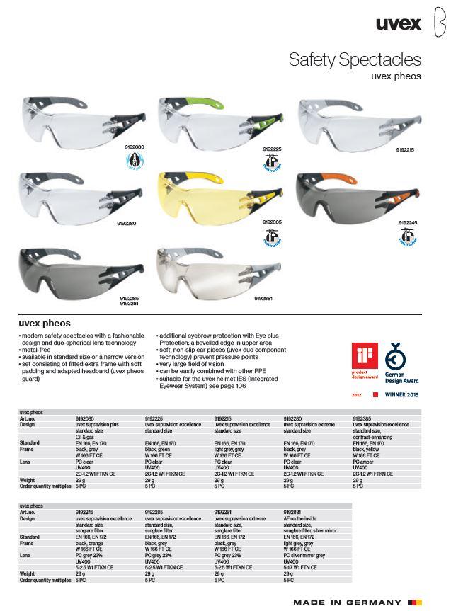 عینک ایمنی uvex مدل pheos سری 9192385