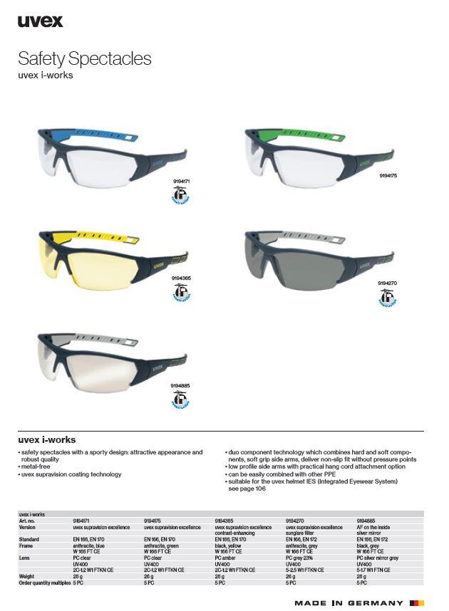 عینک ایمنی مهندسی uvex مدل I-Works سری 9194270