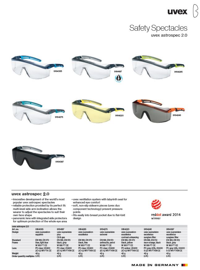 عینک ایمنی یووکس مدل astrospec 2.0 سری 9164387 محصول شرکت یووکس uvex آلمان می باشد .