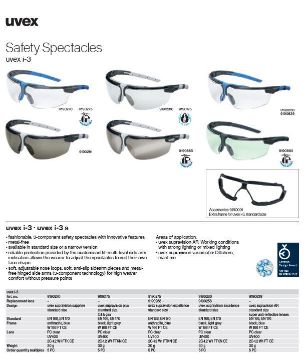 عینک ایمنی آنتی رفلکس Uvex مدل I-3 AR محصول شرکت یووکس uvex آلمان می باشد .
