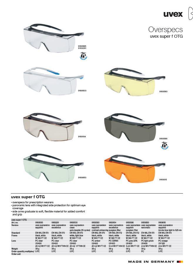 عینک ایمنی uvex super f OTG محصول شرکت یووکس uvex آلمان می باشد .