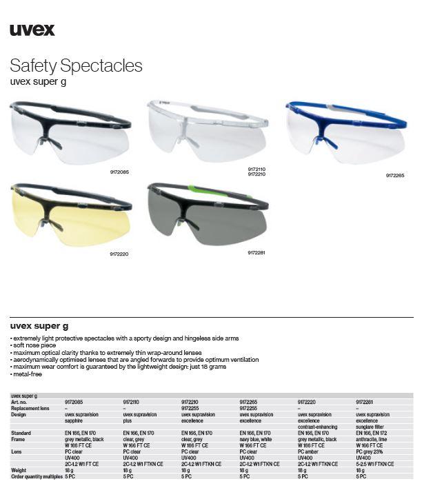 عینک ایمنی آفتابی یووکس مدل Super G 9172281 محصول شرکت یووکس uvex آلمان می باشد .