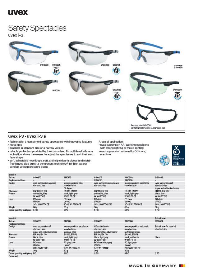عینک ایمنی مهندسی یووکس مدل 9190281 i-3 محصول شرکت یووکس uvex آلمان می باشد .
