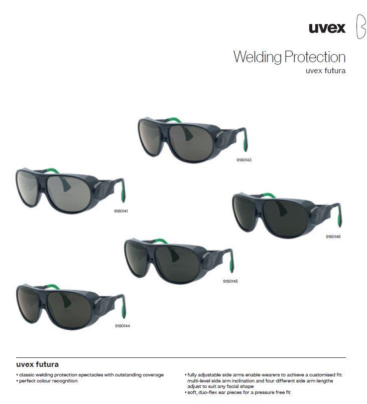 عینک ایمنی جوشکاری یووکس Futura محصول شرکت یووکس uvex آلمان می باشد .