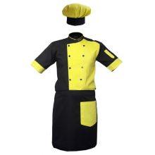 لباس کار همراه کلاه آشپزی رنگ مشکی فسفری