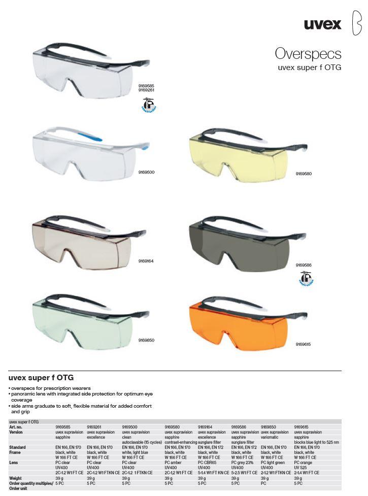 عینک ایمنی uvex super f OTG سری 9169586 محصول شرکت یووکس uvex آلمان می باشد .