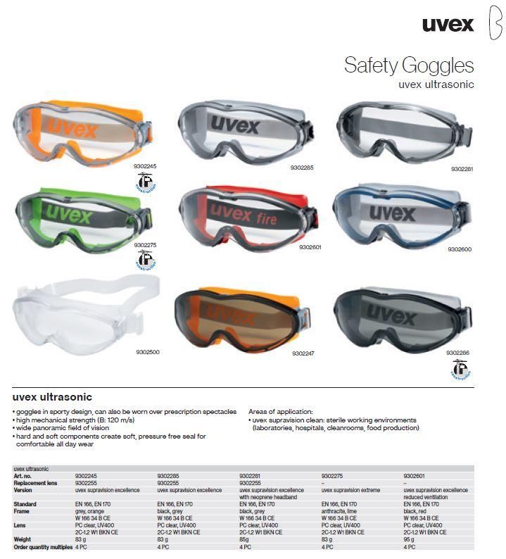 عینک ایمنی آزمایشگاهی یووکس مدل ultrasonic محصول شرکت یووکس uvex آلمان می باشد .