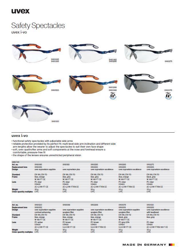عینک ایمنی مهندسی یووکس مدل I-VO محصول شرکت یووکس uvex آلمان می باشد .